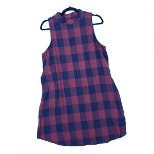 Altar'd State Maroon Navy Plaid Sleeveless Dress